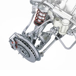Multi link front car suspension, with brake. Photorealistic 3 D